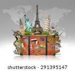 famous monuments of the world... | Shutterstock . vector #291395147