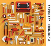 flat design concept hand work... | Shutterstock .eps vector #291406511