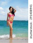 sexy woman in bikini  standing ... | Shutterstock . vector #291408941