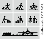 travel people with luggage bags ... | Shutterstock .eps vector #291414614