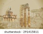ruins of the roman forum in... | Shutterstock .eps vector #291415811