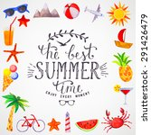 summer watercolor lettering | Shutterstock .eps vector #291426479