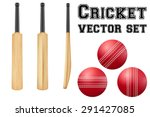 set of traditional wood cricket ...