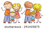happy cartoon family with one... | Shutterstock .eps vector #291435875