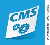 sticker with text cms and two...