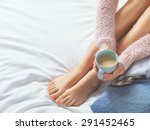 Woman Relaxing At Cozy Home...