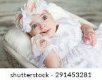 little girl in a dress lying in ... | Shutterstock . vector #291453281