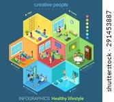 flat 3d isometric fitness... | Shutterstock .eps vector #291453887