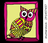 Funny Pink Owl Illustration