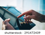 city and hands using tablet | Shutterstock . vector #291472439