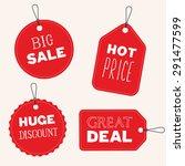 vector sale tags  flat design | Shutterstock .eps vector #291477599