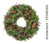 wreath  christmas  holly.   Shutterstock . vector #291481301