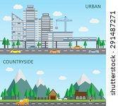 Flat Design Of Urban And...