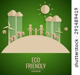 ecology concept. paper cut of... | Shutterstock .eps vector #291489419