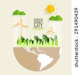 ecology concept. paper cut of... | Shutterstock .eps vector #291490439