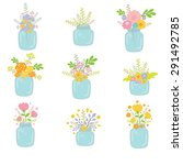 Vector Mason Jars With Flowers