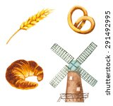 watercolor bakery symbols.... | Shutterstock .eps vector #291492995