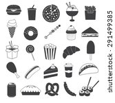 junk food icons collection | Shutterstock .eps vector #291499385