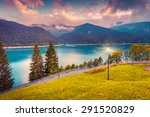 evening view of the lake sauris ... | Shutterstock . vector #291520829
