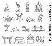 landmark icons. liberty  pisa ... | Shutterstock .eps vector #291535391