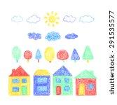 vector color pencil set of... | Shutterstock .eps vector #291535577