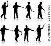 set black silhouettes  police... | Shutterstock .eps vector #291547037