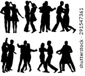 black silhouettes dancing on... | Shutterstock .eps vector #291547361