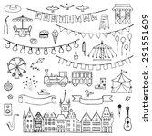 festival hand drawn doodle set. ... | Shutterstock .eps vector #291551609