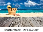 beautiful beach with bag at... | Shutterstock . vector #291569009