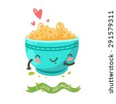 cute porridge bowl character... | Shutterstock .eps vector #291579311