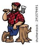 lumberjack lean on the wood log   Shutterstock .eps vector #291579491