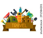 tourist background with camping ... | Shutterstock .eps vector #291584201