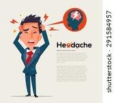 smart man get headache  ... | Shutterstock .eps vector #291584957
