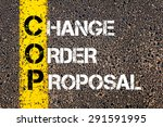 Small photo of Concept image of Business Acronym COP as Change Order Proposal written over road marking yellow paint line.