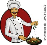 cook and his cooking   Shutterstock .eps vector #291592019