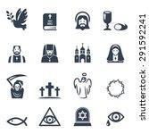 vector christian religion icons ... | Shutterstock .eps vector #291592241