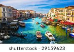 View of famous Grand Canal from Rialto bridge, Venice - stock photo