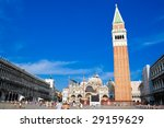 Famous square San Marco in Venice Italy - stock photo