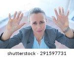 businesswoman feeling trapped... | Shutterstock . vector #291597731
