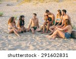 group of friends playing guitar ... | Shutterstock . vector #291602831