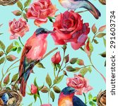 Watercolor Birds On The Pink...