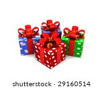 3d illustration of gift box group over white background - stock photo