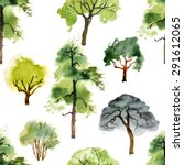 seamless pattern with watercolor trees on white background