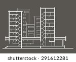 linear architectural sketch of... | Shutterstock .eps vector #291612281