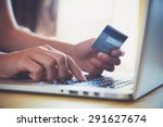 hands holding credit card and... | Shutterstock . vector #291627674
