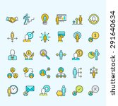 set of line color people icons... | Shutterstock .eps vector #291640634