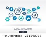 social media network. hexagon...   Shutterstock .eps vector #291640739