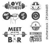fitness vector set. vintage... | Shutterstock .eps vector #291646685