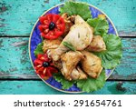 chicken meat on a plate with...