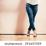 fashion. woman legs in denim... | Shutterstock . vector #291657359